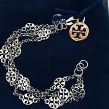 TORY BURCH SILVER MULTI STRAND CHAIN BRACELET -with- POUCH in GIFT BOX