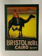 Bristol Hotel Vintage Luggage label sticker Cairo Egypt