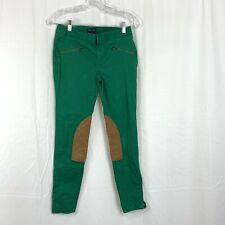 Ralph Lauren Equestrian Riding Pants Girls 16 Kelly Green Suede Patch