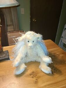 "Annette Funicello Collectible Bear 18"" Ivory Mohair Blue Wings Angel Bear #2"