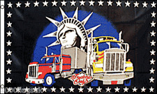 US Truckers Statue of Liberty New York 5'x3' Flag !