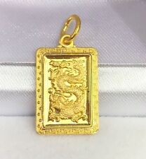 24K Solid Yellow Gold Cute Animal Sign Dragon Rectangle Charm/ Pendant,2.50Grams