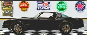 1977 Pontiac Black Tran Am Bandit Movie Car Garage Scene  BANNER Two Sizes.
