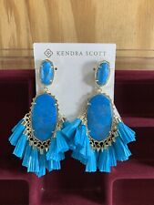 Kendra Scott Cristina Aqua Blue Turquoise Howlite Statement Earrings Tassels