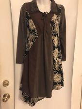 Pretty Angel Size Sm Brown with Black Crochet Front Floral Overlays Tunic Shirt