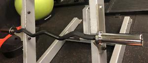 """Breakthrough Olympic Barbell EZ Curl Black Bar 4FT  2"""" revolving sleeves"""