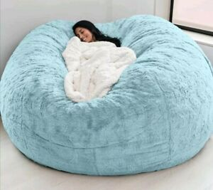 7ft Giant Fur Bean Bag Cover Living Room Furniture Big Round Soft Fluffy Sofa Be