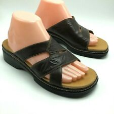 Clarks Womens Slide Sandals Brown Leather Low Wedge Open Toe 8 M