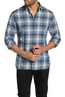 John Varvatos Star USA - Fulton Plaid Sport Shirt blue XL c16