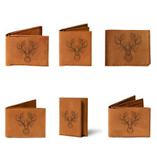 A head deer with forest Handmade Bifold Card Natural Genuine Men Leather Wallet