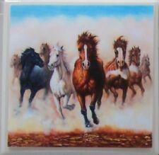 Handmade Natural Stone Ceramic Tile Drink Coasters - Set of 4 - Horses 3 B
