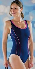"""BNWT MARU PACER SWIMSUIT SIZE 10 34"""" NAVY WITH PINK FAST DRYING UV PROTECT"""