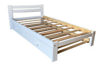 White Twin Bed with Trundle Bed Solid Pine Wood and Hardwod Slats