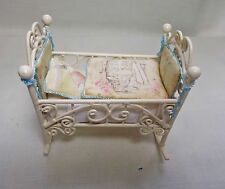 Dolls House Miniature Beatrix Potter style rocking Cot/crib (blue)