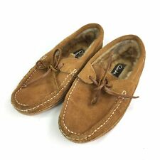 Clarks Mens Tan Nubuck Leather Moccasin Slippers Shearling Lined 803100 Size 8 M
