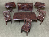 VINTAGE PLASCO DOLL HOUSE 7 PIECE DINING ROOM FURNITURE 1947-50