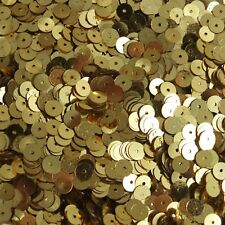 6mm Flat Round Sequins Rich Egyptian Gold Shiny Metallic. Made in USA
