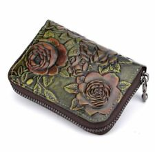 Women Genuine Cow Leather Short Wallet  Card Holder Clutch Bag Coin Case Green
