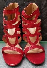 Shiny Red Rhinestone Open Toe Strappy Heels by Scene , Size 8M, NWOB