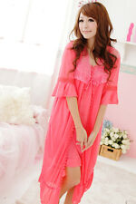 Nighty Kimono 2 pc Set New  Women Chemise Lace Nightress Robe Gown Dressing 10