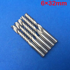 5pcs Cnc Router Bits Single Flute End Mill Cutter For Wood Nylon Resin Abs 6mm