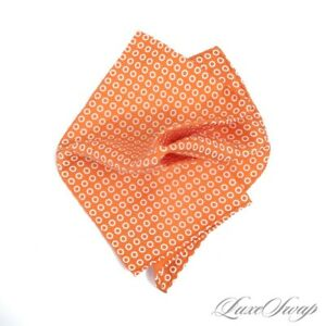 LNWOT Holliday & Brown 100% Silk Tropical Orange Hand Rolled Rings Pocket Square