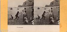 STC429 Sortie de Bain Plage mer sea Hélio stereoview photo STEREO Vintage