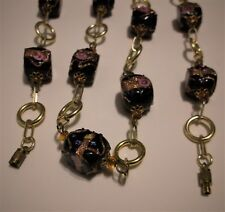 Glass Bead Aventurine Link Necklace Vintage Strand Venetian Wedding Cake Black