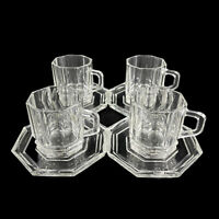 Set of 4 VTG Italy Clear Ribbed Glass Chocolate Coffee Expresso Cups & Saucers