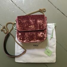New with Tags TOUS Rene Pink Velvet Crossbody Bag