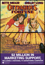 OUTRAGEOUS FORTUNE__Orig. 1987 Trade print AD promo__BETTE MIDLER__SHELLEY LONG