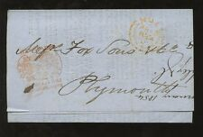 NEWSPAPER STAMP 1854 M + R KEIGHLEY 1d...ENTIRE CIRCULAR HULL to PLYMOUTH