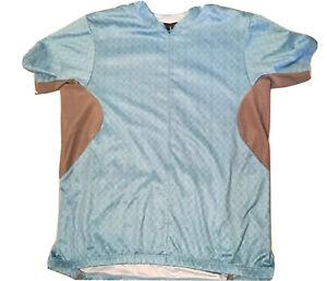 Womens Novara Blue Cycling Jersey Zippered Shirt Back Pockets Size Large