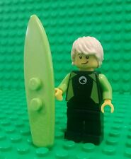 *NEW* Lego Surfer Dude Minifig w Green Surfboard Double Face Fig x 1