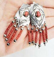 Vtg Navajo Tom Billy TB Signed Sterling Silver & Coral Dangle Pierced Earrings