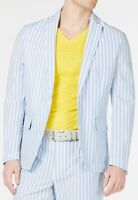 INC Mens Blazer Blue Size XS Seersucker Striped Slim-Fit 2-Button  $129- 580