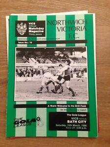 NORTHWICH VICTORIA V BATH CITY - GOLA LEAGUE - 15/3/1986