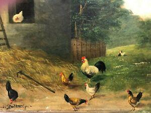 Ölgemälde alt Romantik Hühner Stall Stroh Wald Wiese Rüdiger Stoitzner um 1920