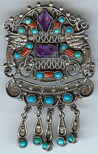 MORALES VINTAGE MEXICO STERLING SILVER TURQUOISE CORAL & AMETHYST DANGLE PIN*