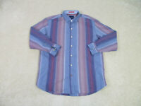 Tommy Bahama Button Up Shirt Adult Large Blue Red Striped Long Sleeve Casual Men