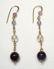 Lyns Jewelry Fluorite Drop Earrings Gold