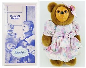 """Raikes Bears Sophie 1993 Applause inc. Wooden Face 16"""" Bear Mother's Day w/ COA"""