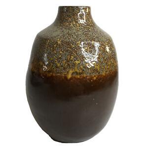 Crate and Barrel Vase Bruna Burnt Orange Ceramic Drip Glaze Portugal 10.5 in