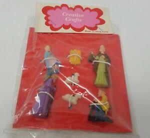 Vintage Miniature Plastic Nativity Figures Scene Set Crafts Dollhouse Hong Kong