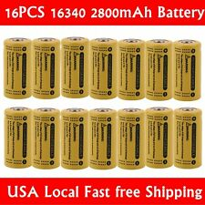 16x 2800Mah 3.7V 16340 CR123A Li-ion Rechargeable Battery Cell Flashlight Camera