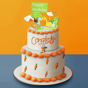 Trees And Dinosaurs Cake Topper Children Kids Birthday Party Decoration Animal