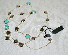 """NWT $248 Melinda Maria Gold-plated LEVI 39"""" Station Necklace Turquoise"""