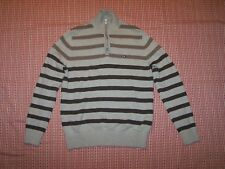 TOMMY HILFIGER Mens size S sweater brown & tan striped mock turtleneck