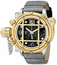 Invicta Mens 52mm Russian Diver Nautilus Swiss 18k Gold Plated Bezel Strap Watch