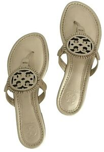 Tory Burch NEW Miller Fringe Platinum Metallic Logo Sandals Size 6M Authentic